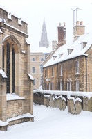 Stamford View of St Mary's Spire from St George's Church in the Snow