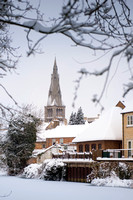 Stamford View of St Mary's Church in the Snow